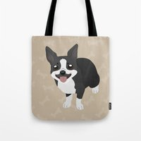 boston terrier Tote Bags featuring Boston Terrier by Sarah