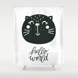hello world Shower Curtain