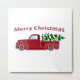 Vintage red pickup car with Christmas tree. Metal Print