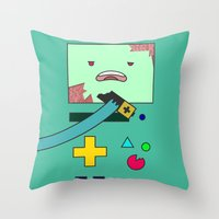 bmo Throw Pillows featuring Zom-BMO by Zeke Tucker