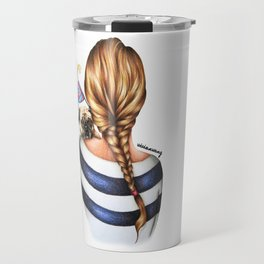 Brunette Braid Hairstyle Girl with Pug Dog Drawing Travel Mug