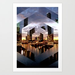 Beautiful Geometric Brisbane River Print Art Print