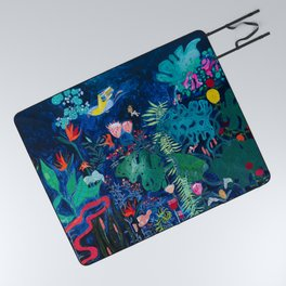 Brightly Rainbow Tropical Jungle Mural with Birds and Tiny Big Cats Picnic Blanket