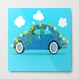 blue car flowers Metal Print