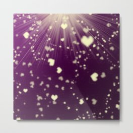 small colored hearts flying white heart in dark purple sunshine Metal Print