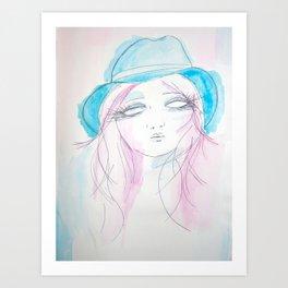 Blue Hat Art Print