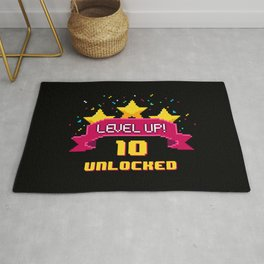 Level Up 10 unlocked 8 bit video game  Rug