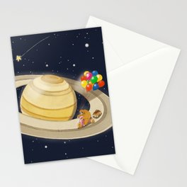 Sloth Happy Ride on Saturn Stationery Cards