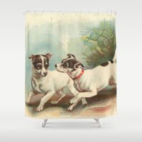 preppy Shower Curtains featuring Classic, preppy, vintage jack russell fox terrier dog puppy antique illustration art print by iGallery