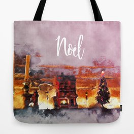 A tiny Christmas village on my mantle says Noel Tote Bag