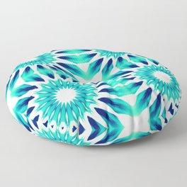 Pinwheel Flowers Turquoise Teal Watercolor Floor Pillow