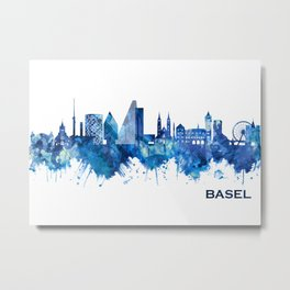 Basel Switzerland Skyline Blue Metal Print