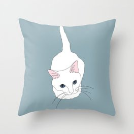 Kitty cat Illustrated Print White Pink Blue Throw Pillow
