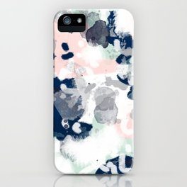Melia - abstract minimal painting acrylic watercolor nursery mint navy pink iPhone Case