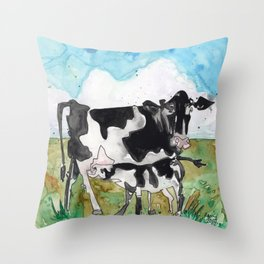 Cow Mommy Throw Pillow