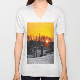 Mid-Winter Sunrise Unisex V-Neck