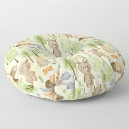 Follow Your Dreams - Little Wild Animals In Forest Floor Pillow