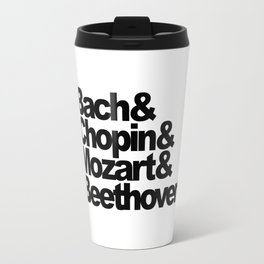 Bach and Chopin and Mozart and Beethoven, sticker, circle, white Travel Mug