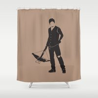 daryl dixon Shower Curtains featuring Daryl by the minimalist