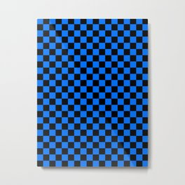 Black and Brandeis Blue Checkerboard Metal Print