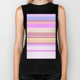 Strips and Pastels Pink and White Cotton Candy Pattern Biker Tank
