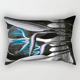 Birds of Paradise Temple of Flora Blue Gray Rectangular Pillow