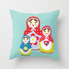 Turquoise babushka , matryoshka , russian doll , nursery decor , children gift, birthday gift Throw Pillow