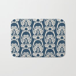 Crackled Scrolled Ikat Pattern - Navy Cream Bath Mat