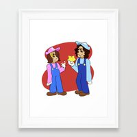 game grumps Framed Art Prints featuring Game Grumps Mario Crossover by hokagesama