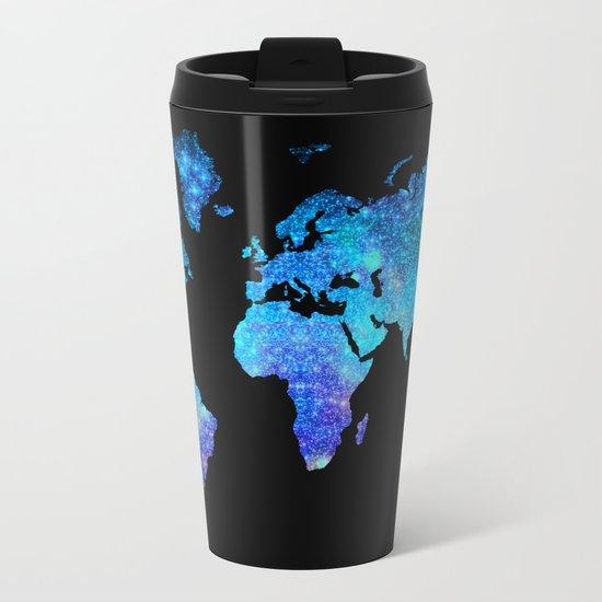 Space World map Metal Travel Mug