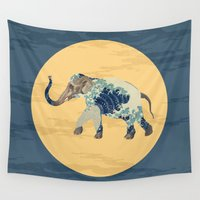 polka Wall Tapestries featuring Elephant Polka by Paula Belle Flores