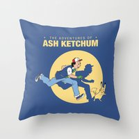 tintin Throw Pillows featuring THE ADVENTURES OF ASH KETCHUM by Akiwa