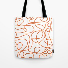 Doodle Line Art   Persimmon / Burnt Orange Lines on White Background Tote Bag