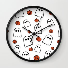 Halloween Ghosts And Pumpkins Wall Clock