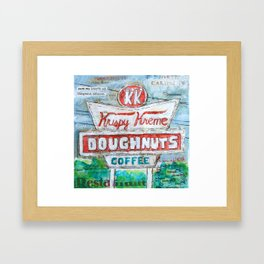Krispy Kreme mixed media painting, restaurant sign Framed Art Print