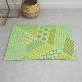 The Unique One (Green Patterned Leaf Patchwork) Rug