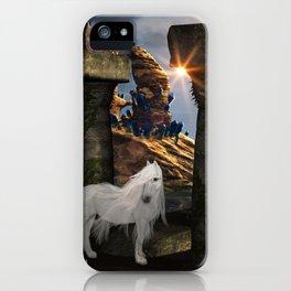 Wonderful white unicorn in the night iPhone Case