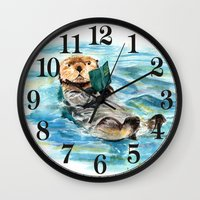 otter Wall Clocks featuring Otter by Anna Shell