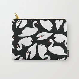 White Swans on Black seamless pattern Carry-All Pouch