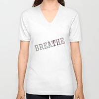 breathe V-neck T-shirts featuring Breathe by mimulux