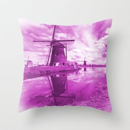 Pink Windpump Throw Pillow