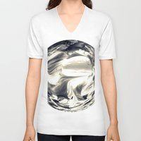 globe V-neck T-shirts featuring Watercolor Globe by Rose Etiennette