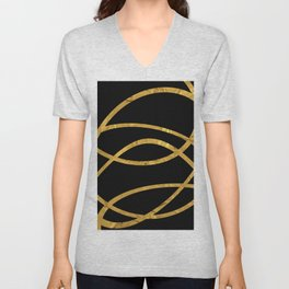 Golden Arcs - Abstract Unisex V-Neck