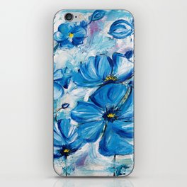 Abstract Blue Poppies iPhone Skin