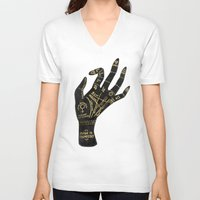 occult V-neck T-shirts featuring Palmistry by Cat Coquillette