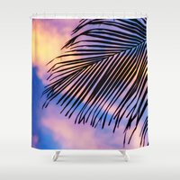 jem Shower Curtains featuring SUNSET PALM by Catspaws
