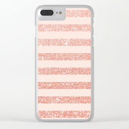 Rose Gold and Glitter Stripes Clear iPhone Case
