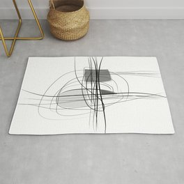Black & White  Abstract Line drawings, Nordic wall home decor, Minimal geometric abstraction 2 Rug