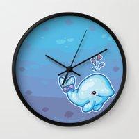 polkadot Wall Clocks featuring PolkaDot Whale by Byte Size Treasure