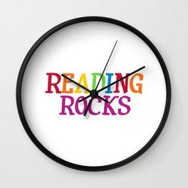 Reading Rocks Students Teachers Wall Clock